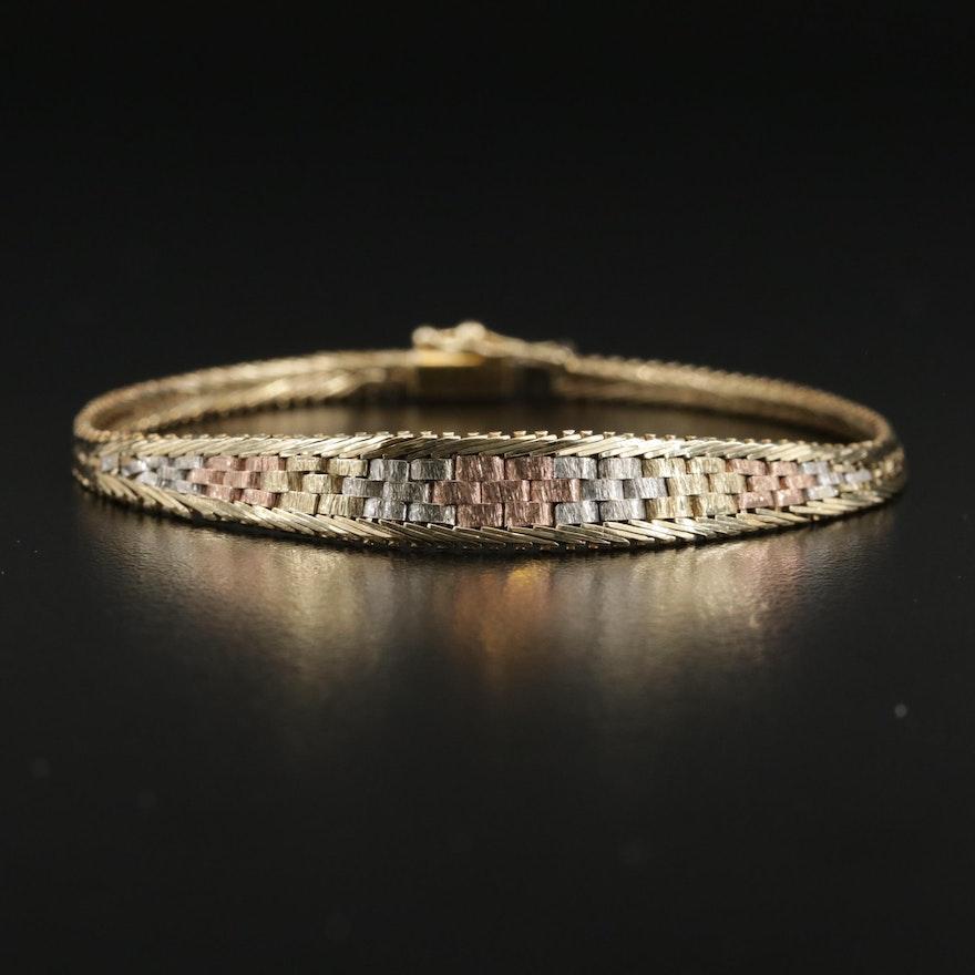 14K Tri-Color Gold Woven Link Bracelet