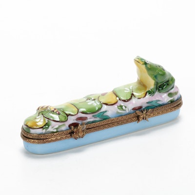 RCM Hand-Painted Porcelain Frog and Lily Pads Limoges Box