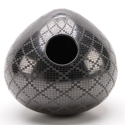 Signed Macario Ortiz Blackware Pottery Vase with Rabbit Motif, 1996