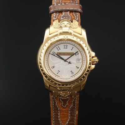 Michael Jordi Texas Longhorn Gold Tone Quartz Wristwatch