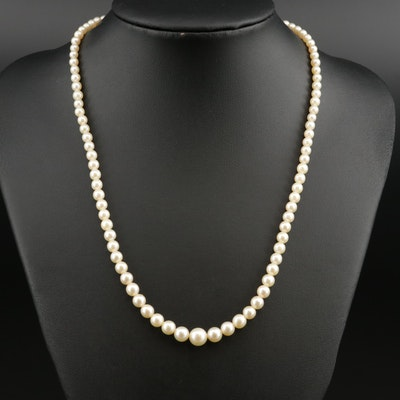 Mikimoto Graduated Pearl Necklace with Sterling Silver Clasp