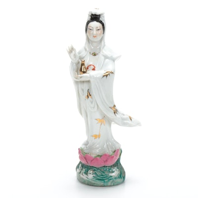 Chinese Hand-Painted Porcelain Figurine of a Woman