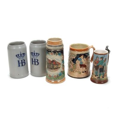 German Earthenware Steins, Including Hofbrauhaus München Salt Glazed Stoneware