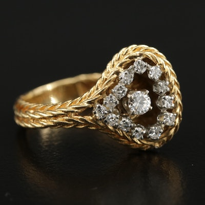 18K Diamond Ring with Braided Detailing
