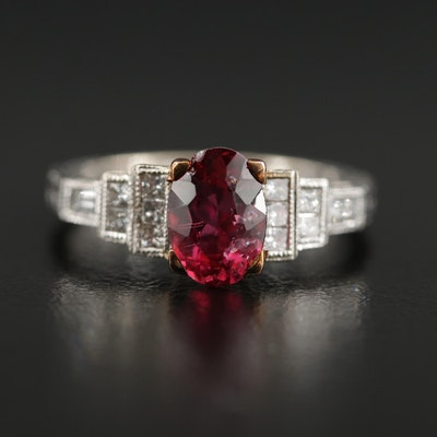 18K Pink Tourmaline and Diamond Ring