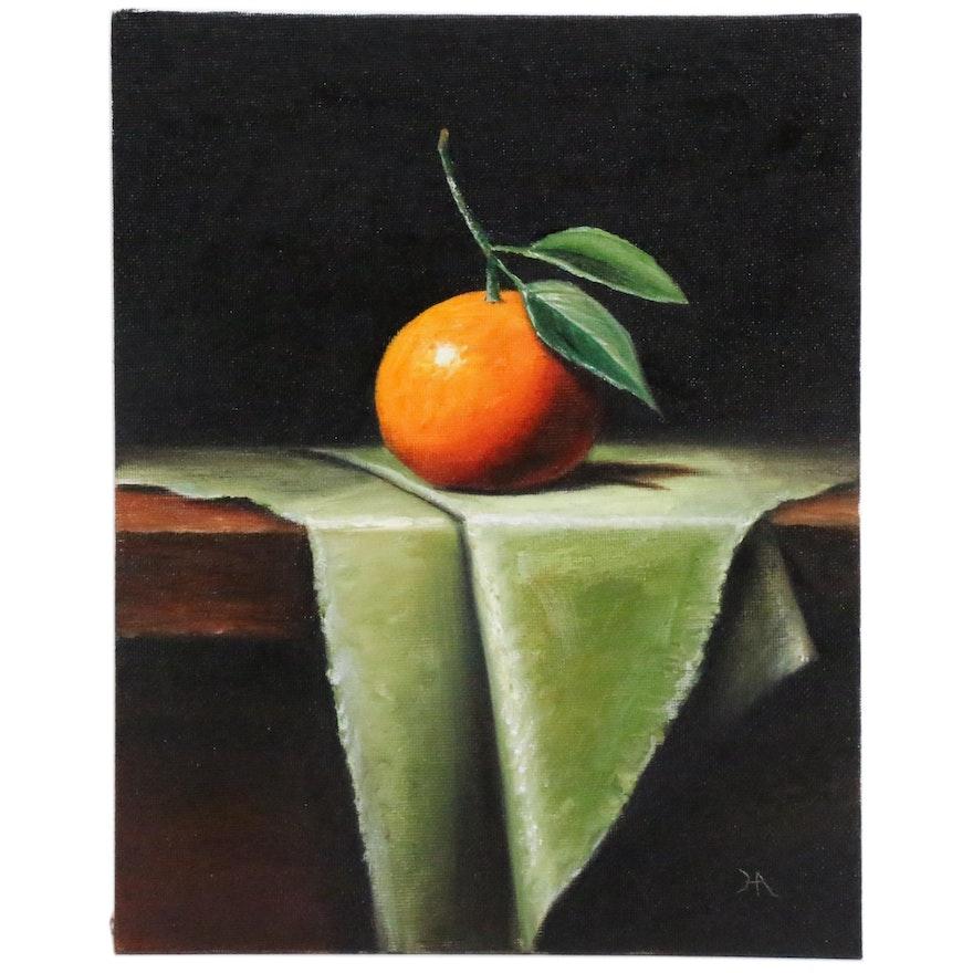 "Houra H. Alghizzi Oil Painting ""Tangerine on Green"", 2020"