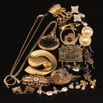 Assorted Brooches and Earrings Featuring Faux Pearl, Enamel and Rhinestone