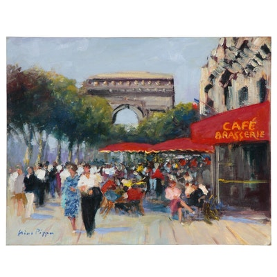 "Nino Pippa Oil Painting ""Paris Sidewalk Cafe"""