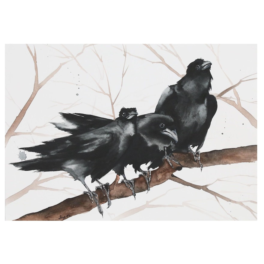 Anne Gorywine Watercolor Painting of Ravens, 2019