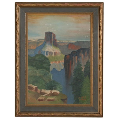 Oil Painting of Canyon Landscape, Early 20th Century