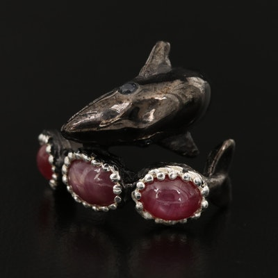 Sterling Silver Star Ruby and Sapphire Whale Ring
