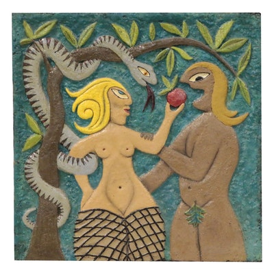 Gene Friley Folk Art Style Cast Plaster Relief of Adam and Eve