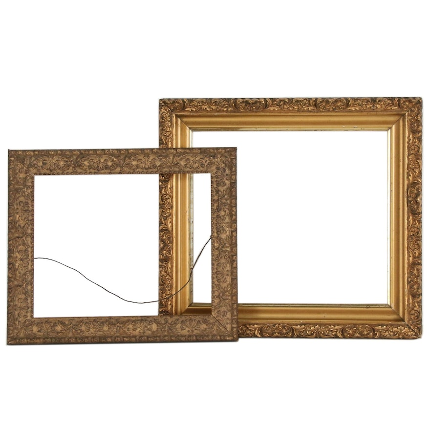 Rococo Style Gilt Wooden Wall Frames, Late 19th Century