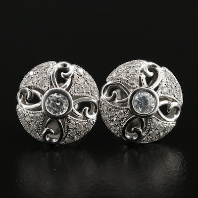 14K Diamond Button Earrings With 18K Finding