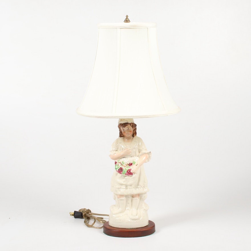 Staffordshire Porcelain Converted Figural Table Lamp