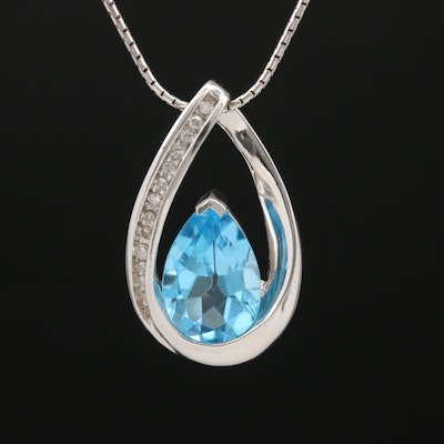 14K Topaz and Diamond Slide Pendant Necklace