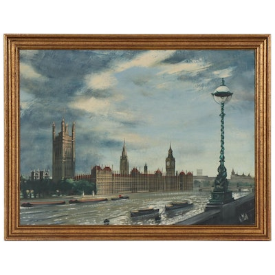 Late 20th Century Oil Painting of Westminster Palace on the Thames