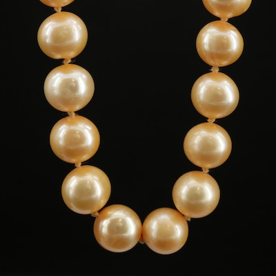 Knotted Single Strand Pearl Necklace with 14K Clasp
