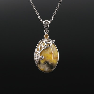 Sterling Silver Agate, Topaz and Citrine Necklace