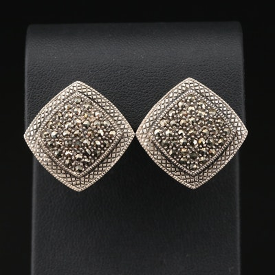 Sterling Silver Marcasite Button Earrings