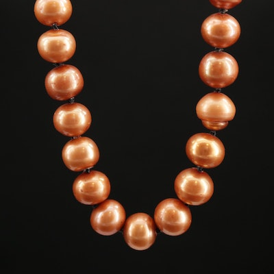 Knotted Cultured Pearl Strand Necklace With 14K Clasp