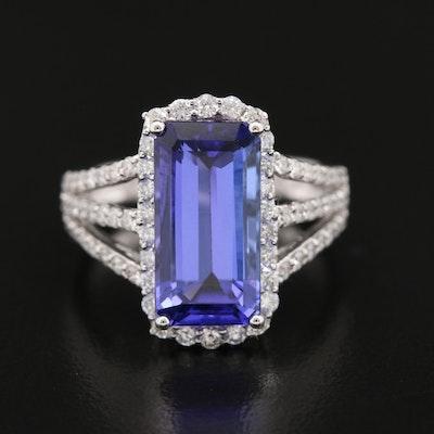 14K 5.10 CT Tanzanite and Diamond Ring