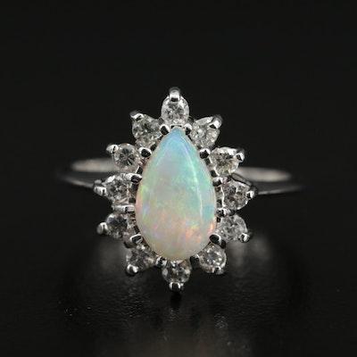 14K Opal Teardrop Ring with Diamond Halo