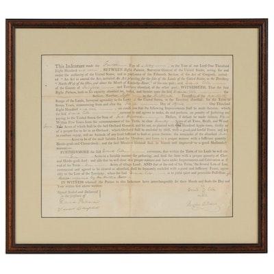 1802 Ohio Broadside Land Indenture Signed by Rufus Putnam, Surveyor General