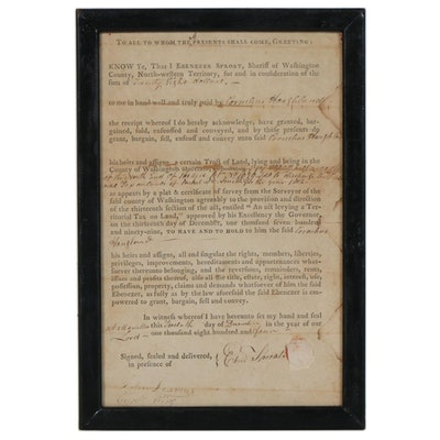 1804 Ohio Land Sale Document Signed Ebenezer Sproat, Sheriff