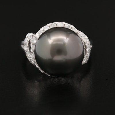 14K Dark Greenish Black Pearl and Diamond Ring