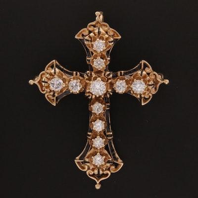 14K 1.69 CTW Diamond and Enamel Convertible Cross Brooch
