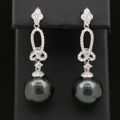 14K Dark Greenish Black Pearl and Diamond Drop Earrings