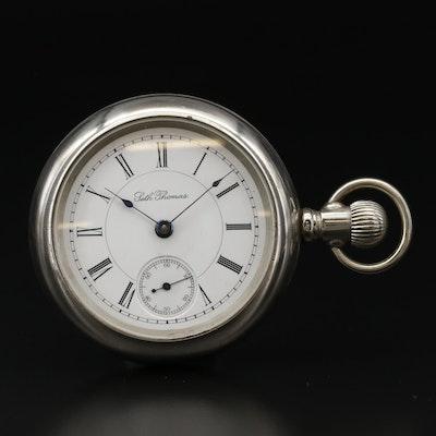 Antique Seth Thomas Nickel Side Winder Pocket Watch