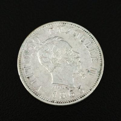 1863 Italy 50 Centesimi Coin