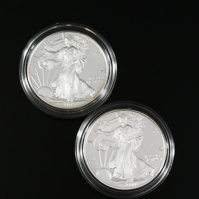 2007-W and 2014-W American Silver Eagle Proof Dollars
