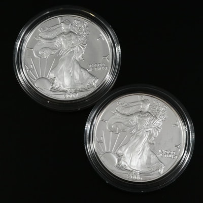2006-W and 2007-W Proof Silver Eagle Dollars
