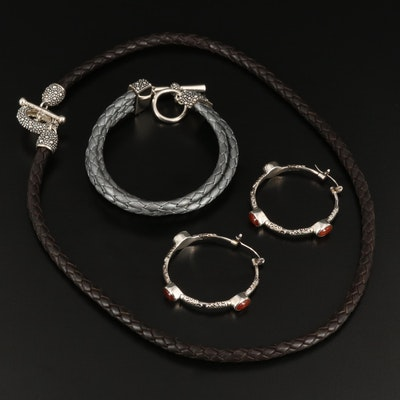 Michael Dawkins Leather Necklace, Bracelet and Suarti Carnelian Earrings