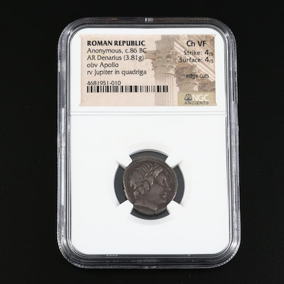 NGC Graded CH VF Roman Republic AR Denarius Coin, Ca 86BCE