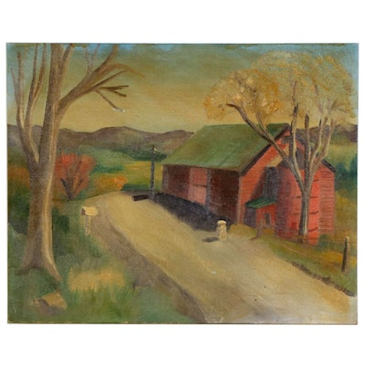 Oil Painting of a Red Barn, Early to Mid 20th Century