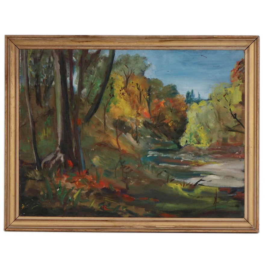 Fall Landscape Oil Painting, Mid-20th Century