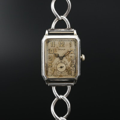 1920s Gruen Guild Gold Filled and Sterling Silver Wristwatch