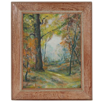 Forest Path in Autumn Oil Painting