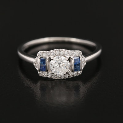 Platinum 0.45 CTW Diamond and Sapphire Ring