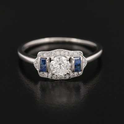 Platinum 0.45 CTW Diamond and Sapphire Ring