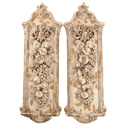 Baroque Style Plaster Wall Panels with Garland of Fruit Motif, Mid-20th Century