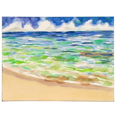 Kathleen Zimbicki Watercolor Painting of Seascape