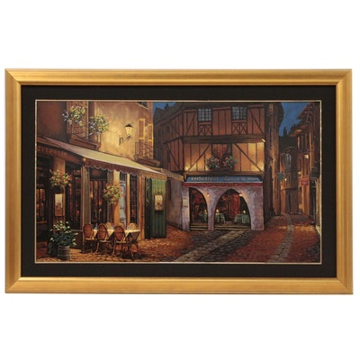 "Viktor Shvaiko Embellished Serigraph ""Twilight at Troyes"""