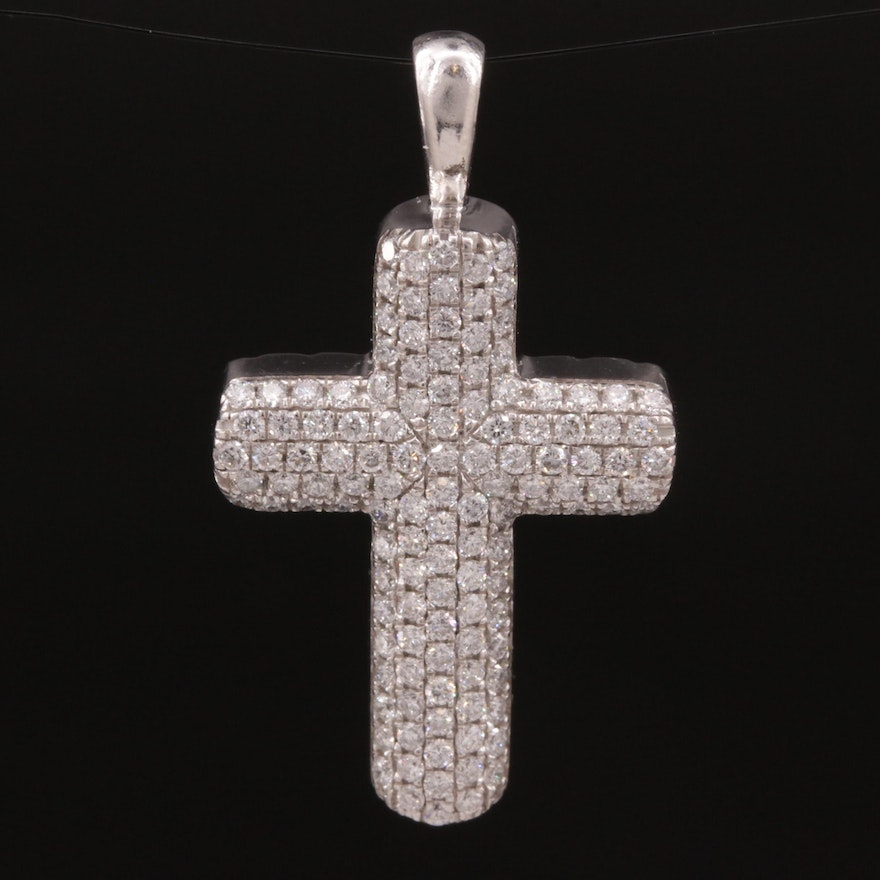 Sterling Silver and 1.24 CTW Diamond Pave Set Cross Pendant