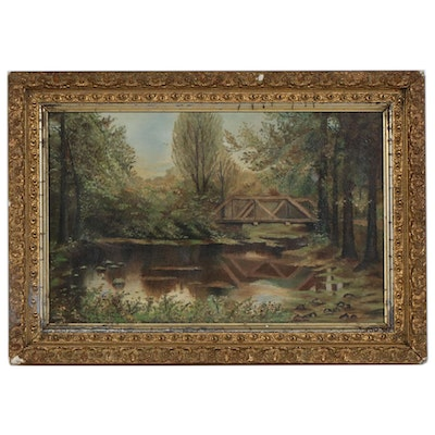 Landscape With Pond and Bridge Oil Painting, 1895