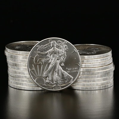 Twenty 2020 $1 American Silver Eagle Bullion Coins